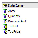 data items menu