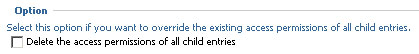 delete the access permissions of all child entries