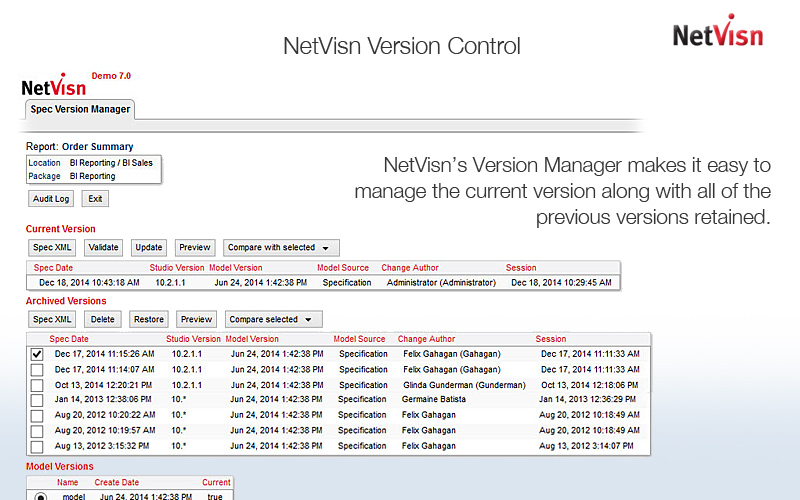 cognos version control