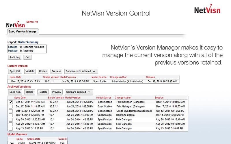 cognos version control