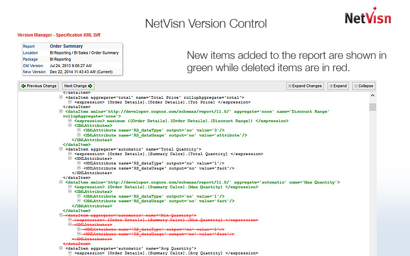 version control with netvsin