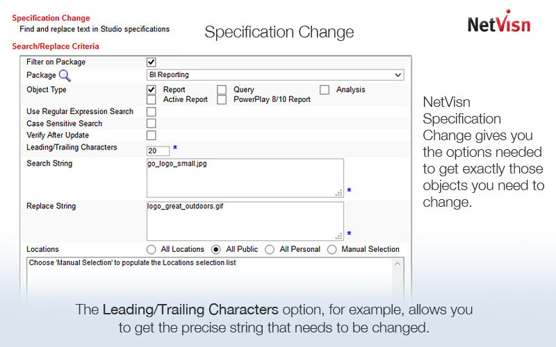 cognos specification change screenshot
