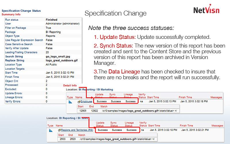 specification change in netvisn