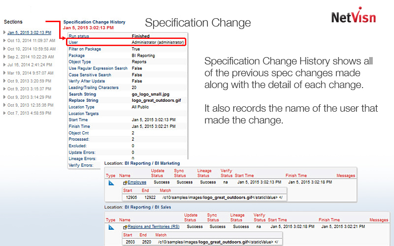 spec change for cognos