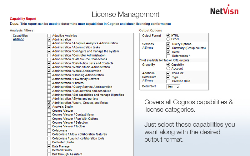 cognos license management