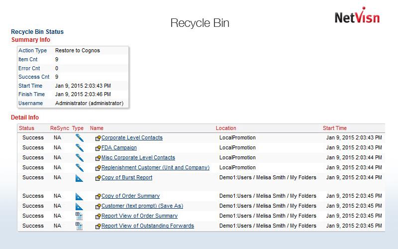 recycle bin status