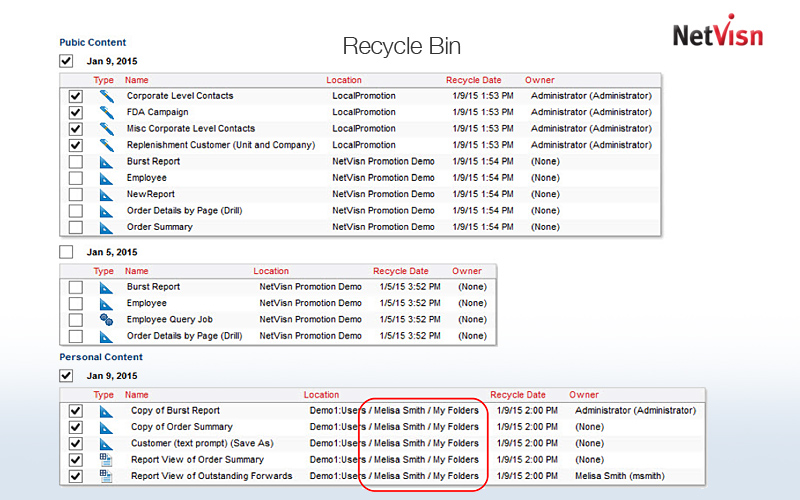 recycle bin queries in netvisn