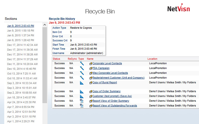 recycle bin history log in netvisn