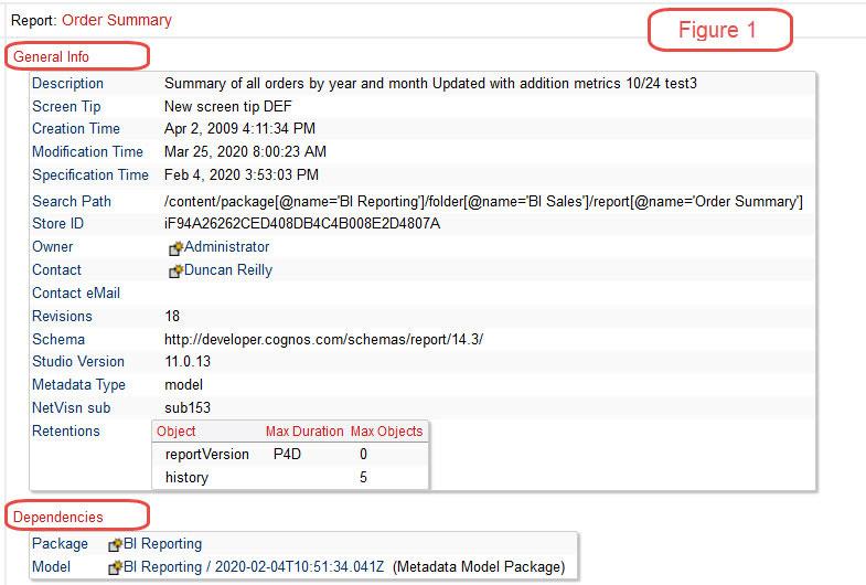 cognos documentation order summary