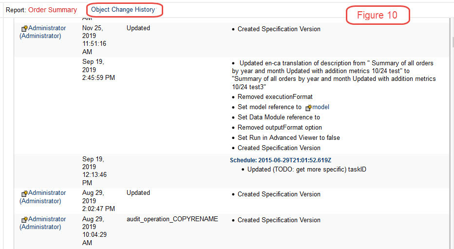 cognos documentation change history