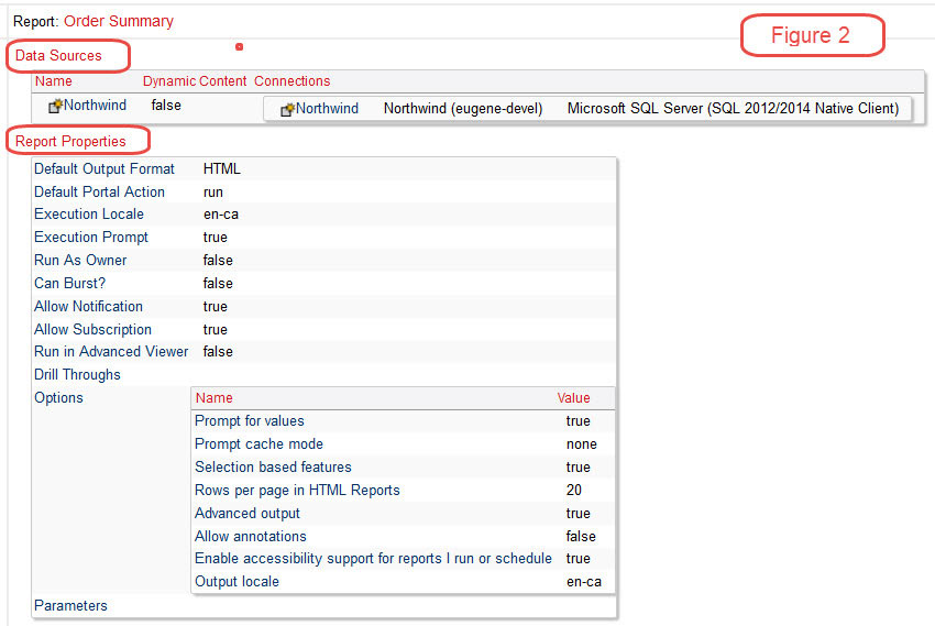cognos data sources report properties