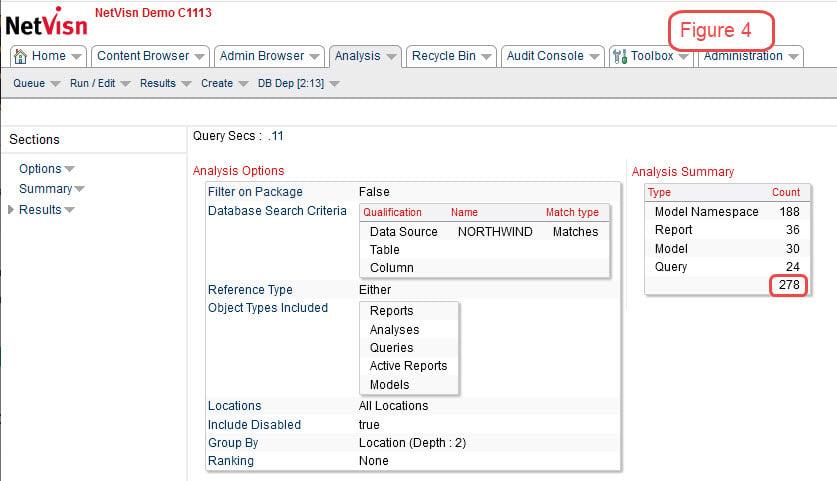 cognos database query