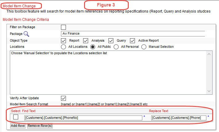 cognos-Model item dependency