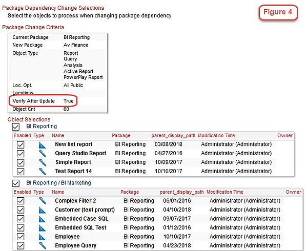 cognos package dependency change selections