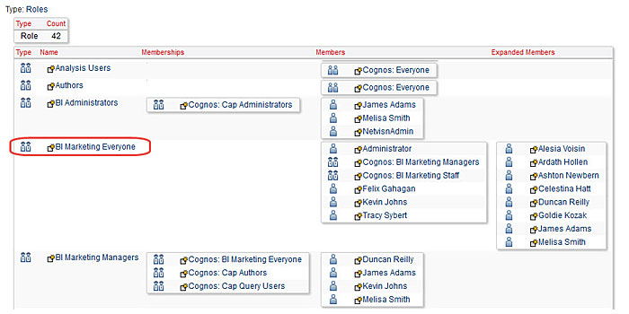 cognos roles and expanded members