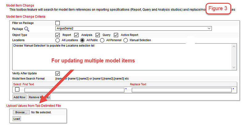 multiple item changed in cognos