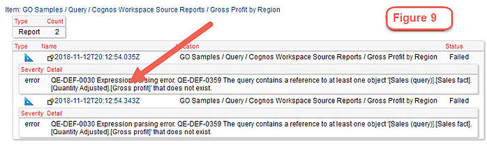 cognos object causing report failure