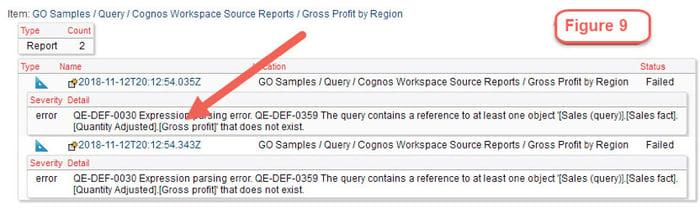 cognos object causing report failure