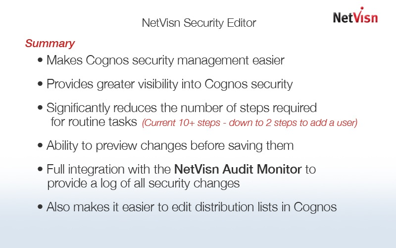 netvisn security editor for cognos