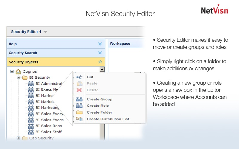 create cognos groups and roles in Security Editor
