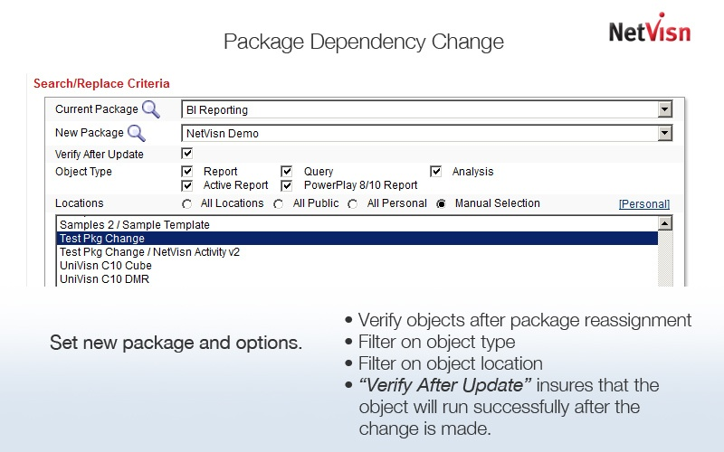 selecting cognos package filters